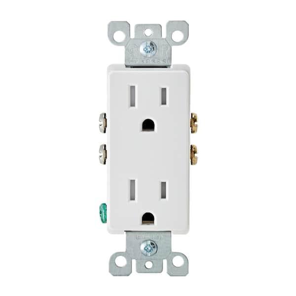 Leviton Decora 15 Amp Tamper Resistant Duplex Outlet White R57 T5325 0dw The Home Depot