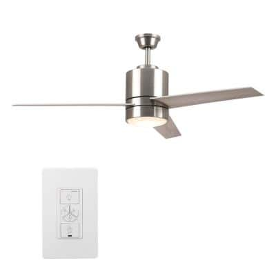 Ranger 52 in. LED Indoor Silver Smart Ceiling Fan with Light Kit and Wall Control, Works with Alexa/Google Home/Siri