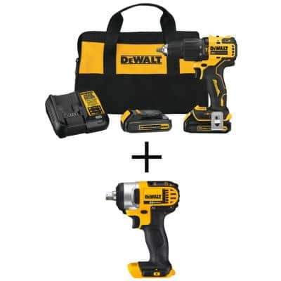 ATOMIC 20-Volt MAX Brushless Cordless Compact 1/2 in. Hammer Drill with 20-Volt 1/2 in. Impact Wrench Kit (Tool-Only)