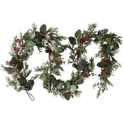 9 ft. Snowy Christmas Garland with Pinecones and Berries in Green