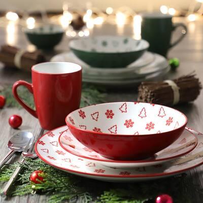 Pine Valley Red Stoneware Dessert Bowl (Set of 4)