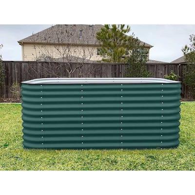 32 in. Extra-Tall 9-In-1 Modular British Green Metal Raised Garden Bed Kit