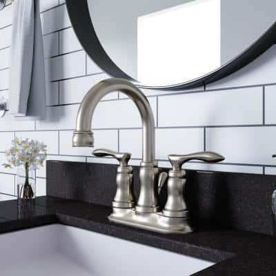 Madison 4 in. Centerset 2-Handle Bathroom Faucet in Satin Nickel