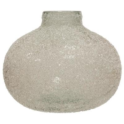 Translucent Clear Crackle Glass Round Wide Vase