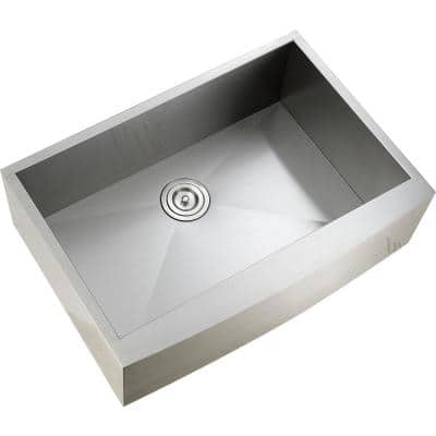 Handmade Farmhouse Apron-Front Stainless Steel 30 in. Single Bowl Kitchen Sink