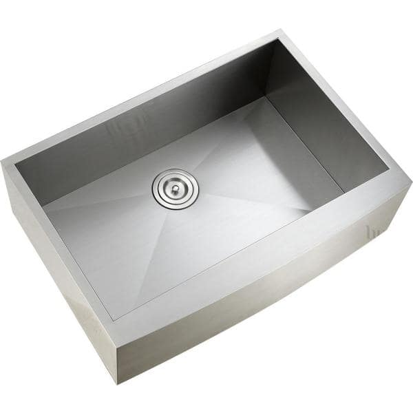 Luxier Handmade Farmhouse Apron Front Stainless Steel 30 In Single Bowl Kitchen Sink Afs30 18z V The Home Depot
