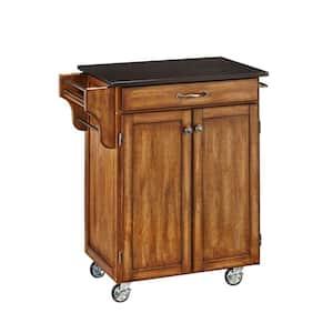 Cuisine Cart Warm Oak Kitchen Cart with Black Granite Top