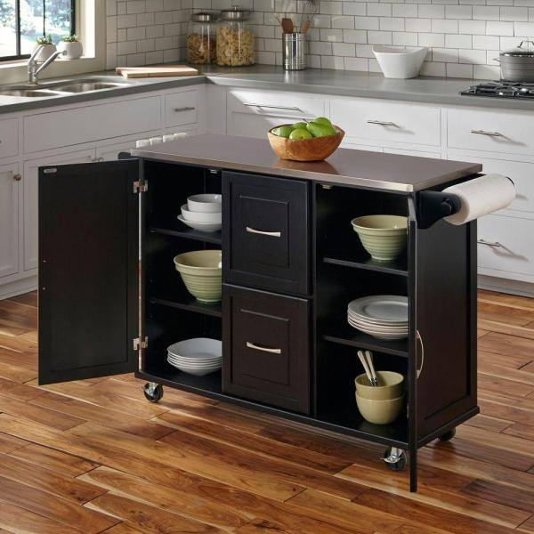 Homestyles Liberty Black Kitchen Cart With Natural Wood Top 4510 95 The Home Depot