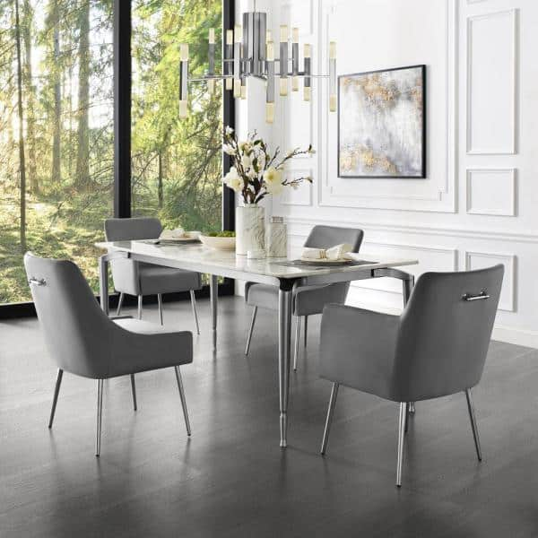 Inspired Home Capelli Light Grey Chrome, Gray Dining Room Chairs