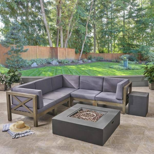 Noble House Brava Grey 7 Piece Wood Patio Fire Pit Sectional Seating Set With Dark Cushions 54555 The Home Depot
