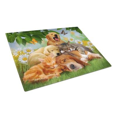 Golden Retriever, Labrador and Basset Hound Sleepy Heads Tempered Glass Large Cutting Board