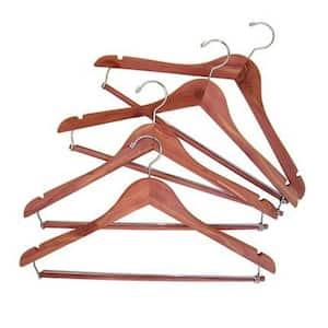 Natural Cedar Space Saver Hanger with Locking Trouser Bar 4-Pack