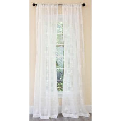 White Buffalo Check Rod Pocket Sheer Curtain - 52 in. W x 84 in. L