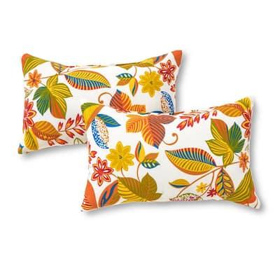 Esprit Floral Lumbar Outdoor Throw Pillow (2-Pack)