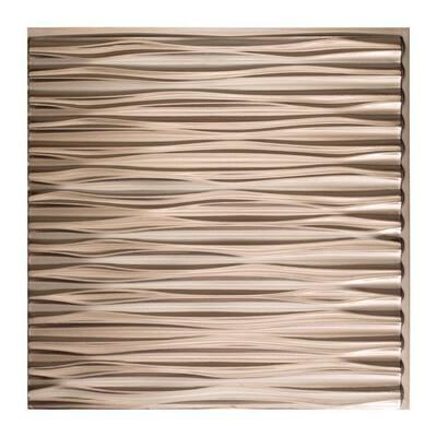Dunes Horizontal 2 ft. x 2 ft. Glue Up Vinyl Ceiling Tile in Brushed Nickel (20 sq. ft.)