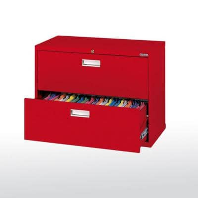 600 Series 28.375 in. H x 36 in. W x 19.25 in. D 2-Drawer Lateral File Cabinet in Red