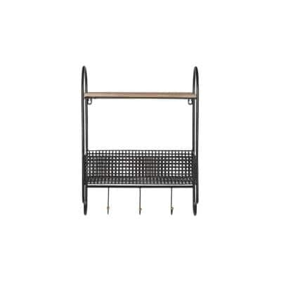 20 in. H x 15 in. W x 6 in. D StyleWell Black Metal Wall Organizer with Basket and 3 Hooks