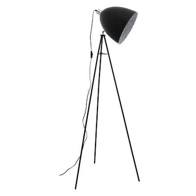 Mareperla 54.25 in. Black Floor Lamp with Black/Grey Metal Shade