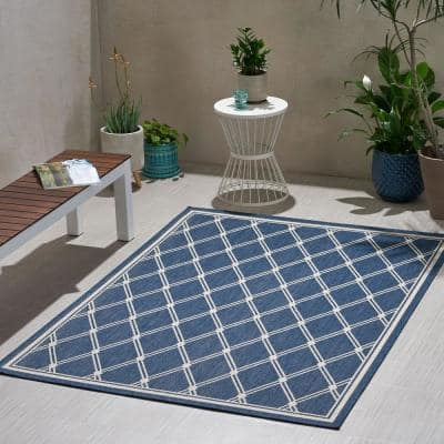 Luxor Blue and Ivory 5 ft. x 7 ft. Diamond Outdoor Area Rug