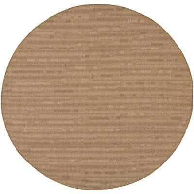 Caicos Solid Basket Weave Sand 7 ft. 10 in. x 7 ft. 10 in. Round Indoor/Outdoor Area Rug