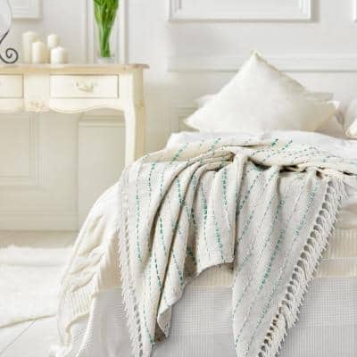 Interwoven 50 in. x 60 in. Teal/Cream Shimmer Stripe Woven Fringe Throw Blanket