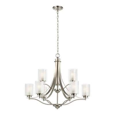 Elmwood 9-Light Brushed Nickel Modern Transitional Hanging Candlestick Chandelier with Satin Etched Glass Shades