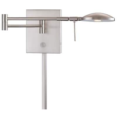 George's Reading Room 8-Watt Brushed Nickel Integrated LED Swing Arm