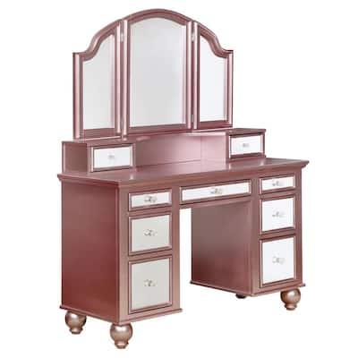 Serena 2-Piece Rose Gold Mirror Panel Vanity Set