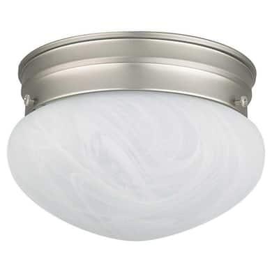 1-Light Satin Nickel Ceiling Flush Mount with Alabaster Glass