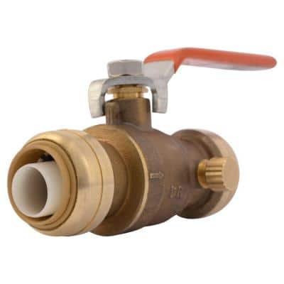 3/4 in. Push-to-Connect Brass Ball Valve with Drain
