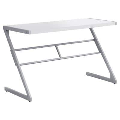 48 in. Rectangular White/Silver Writing Desk with Open Storage
