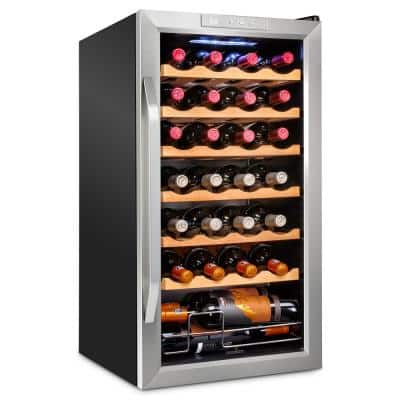 16.9 in. 28-Bottle Compressor Freestanding Wine and Beverage Cooler - Stainless Steel