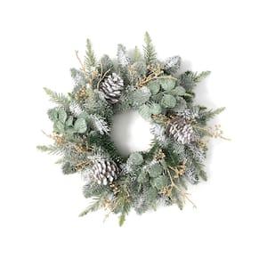 22 in. Artificial Pine and Eucalyptus Mini Wreath