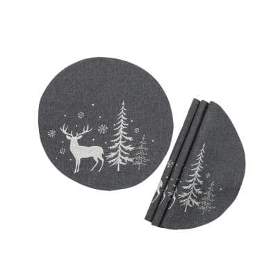 0.1 in. H x 16 in. W Round Deer In Snowing Forest Double Layer Christmas Placemat in Dark Gray (Set of 4)