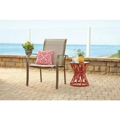 Stationary Commercial Grade Aluminum Oversized Outdoor Dining Chair in Sunbrella Elevation Stone (2-Pack)