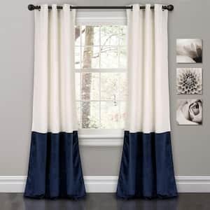 White Velvet Grommet Room Darkening Curtain - 38 in. W x 84 in. L (Set of 2)