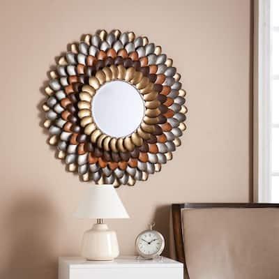 Medium Round Lightly Antiqued Metallic Multicolor Mirror (31.75 in. H x 31.75 in. W)