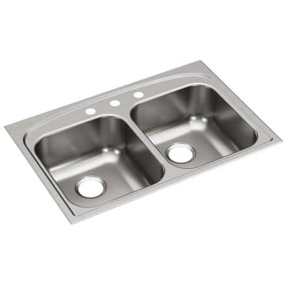 Pergola Stainless Steel 33 in. 3-Hole Double Bowl Drop-In Kitchen Sink