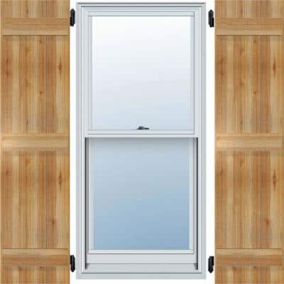"""16-1/8"""" X 72""""Timbercraft Rustic Wood Three 5-3/8""""Joined Board and Batten Shutters Rough Sawn Cedar(pair)"""