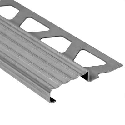 Trep-E Stainless Steel 1 in. x 8 ft. 2-1/2 in. Metal Stair Nose Tile Edging Trim