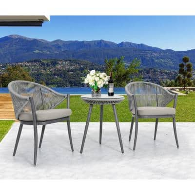 3-Piece Aluminum Outdoor Bistro Set Outdoor Furniture with Grey Cushion