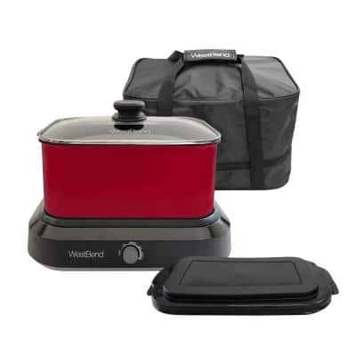 6 qt. Red Non-Stick Versatility Slow Cooker with 5-Temperature Settings Includes Travel Lid and Thermal Tote