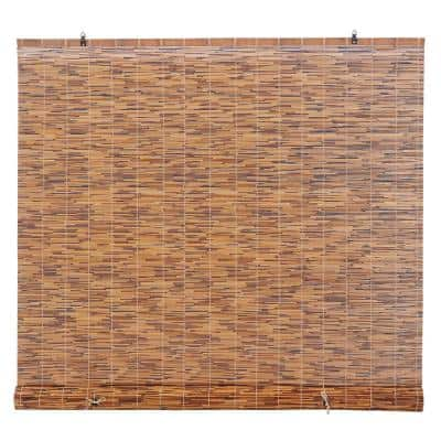 Light-Filtering Natural Bamboo Reed Roman Shades Manual Roll-Up Window Blinds, Chocolate 72 in. W x 72 in. L