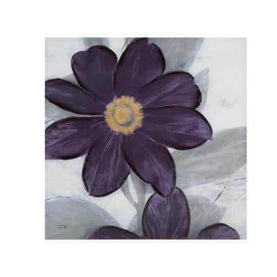 Midnight Bloom Plum Hand Embellished Canvas Wall Art