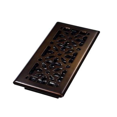 4 in. x 10 in. Steel Gothic Design Floor Register, Rubbed Bronze