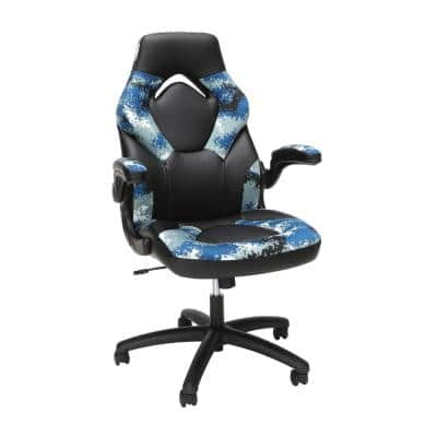 Essentials Collection Racing Style Bonded Leather Gaming Chair, in Arctic Camo (ESS-3085-ARC)