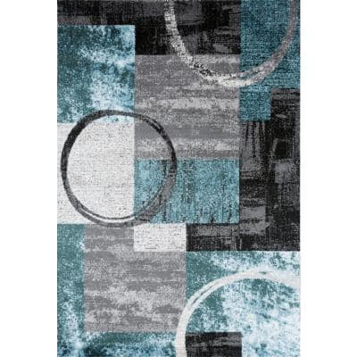 Modern Abstract Circle Gray 7 ft. 10 in. x 10 ft. Indoor Area Rug