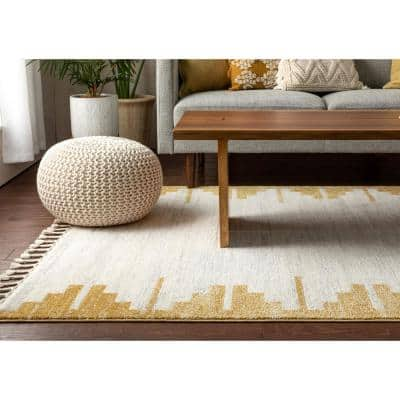 Serenity Carly Gold Nordic Solid and Striped 7 ft. 10 in. x 9 ft. 10 in. Distressed Area Rug