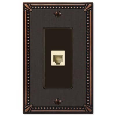 Imperial Bead 1 Gang Phone Metal Wall Plate - Aged Bronze