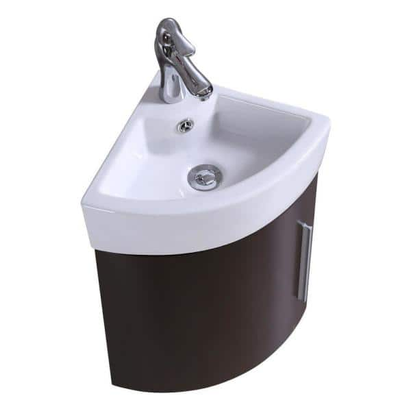 Renovators Supply Manufacturing Myrtle 16 1 2 In Corner Wall Mounted Vanity Combo In Dark Oak With Ceramic Sink In White With Faucet Drain Overflow 21958 The Home Depot